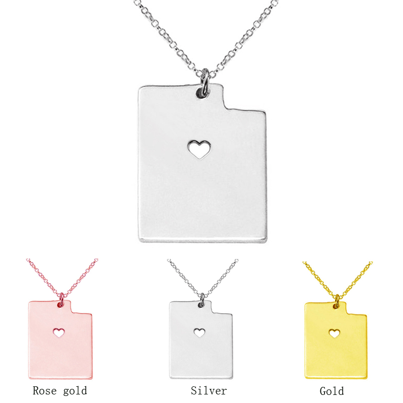3 color Utah State map Necklace charm pendant Necklaces With A Heart statement Necklace jewelry CN53