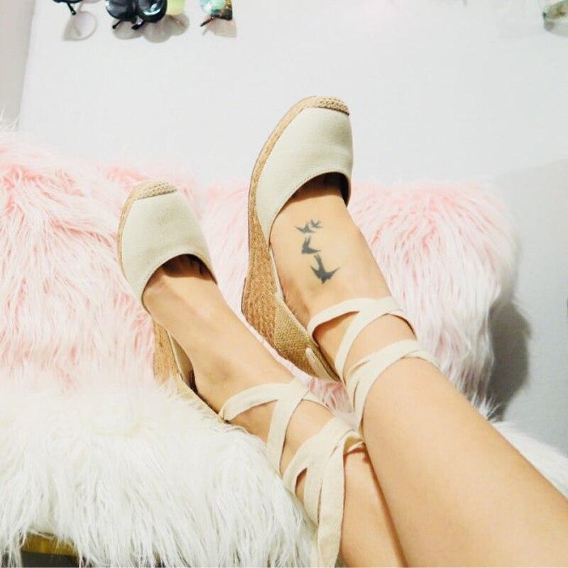 Women Ankle Strap Espadrilles Wedge Sandals 2018 Summer Canvas High Heel Fashion Lace up Women Platform Wedge Sandals Large Size (31)