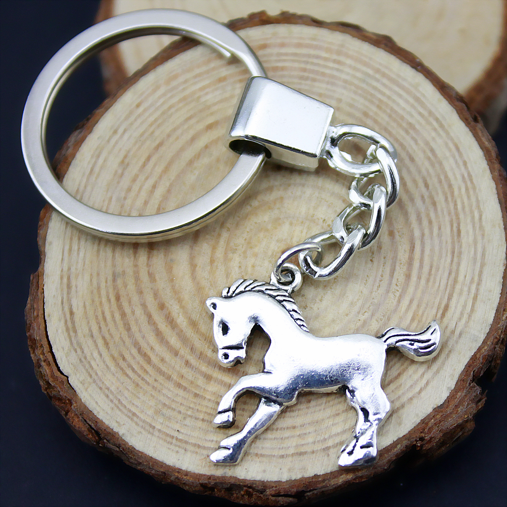 5pcs Home Decor Metal Crafts Party Favors horse Pendants DIY Car Key Ring Holder Souvenir For Gift Optional Package Box