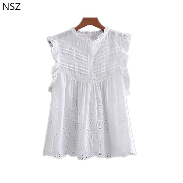3fb070e3426514 NSZ Women Sleeveless Shirt White Blouse Cotton Ruffles Embroidery Hollow  Out Ladies Top Round Collar Lace Top
