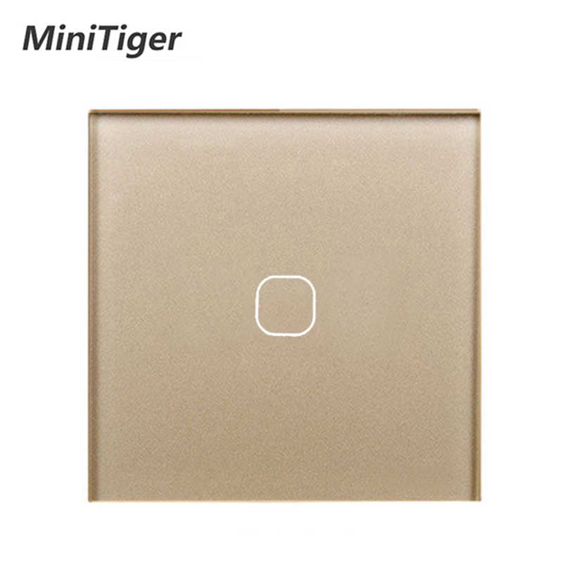 MiniTiger EU/UK Standaard, 1 Gang 1 Manier Muur Touch Switch, White Crystal Glass Switch Panel, 220-250 V, Alleen Touch Functie