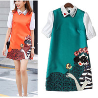Maxi Dresses 4XL Summer Fashion Europe Ladies Painting Print Women S Peter Pan Collar Embroidery Sequins
