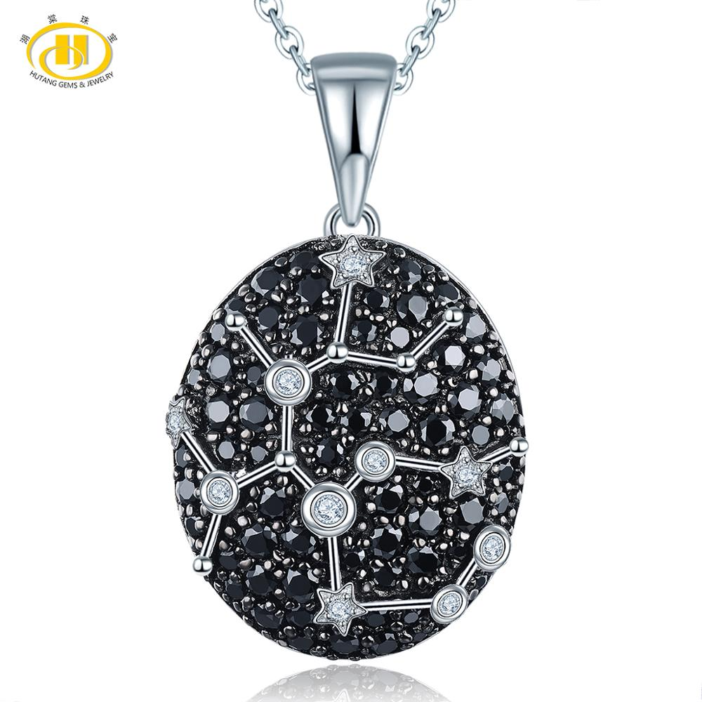 Hutang Sagittarius Pendant Gemstone Black Spinel 925 Silver Necklace Constellation Birthday Gift 23th Nov Until 21th