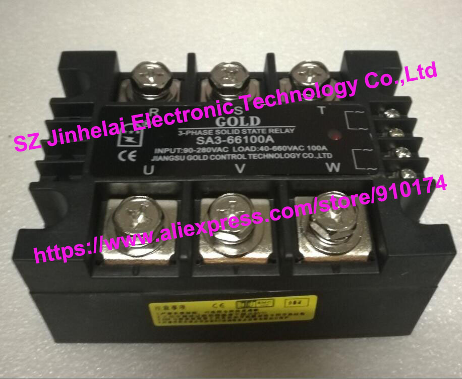 New and original SA366100A SA3-66100A GOLD 3-PHASE AC Solid state relay 40-660VAC 100A new and original sa366150d sa3 66150d gold 3 phase solid state relay ssr 4 32vdc 40 660vac 150a