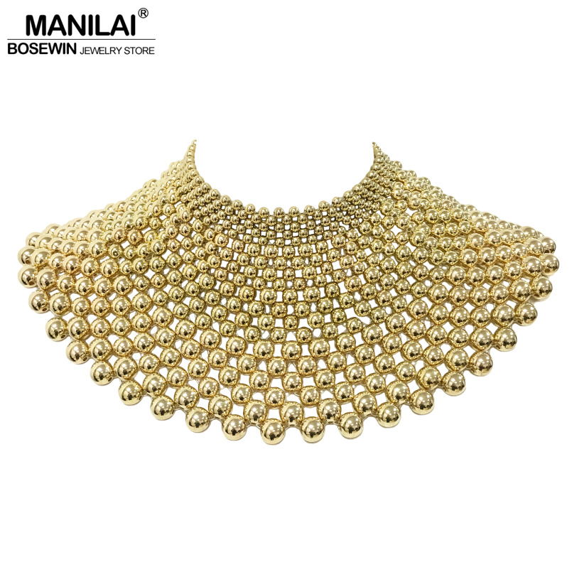 MANILAI Brand Indian Jewelry Handmade Beaded Statement Necklaces For Women Collar Beads Choker Maxi Necklace Wedding Dress все цены