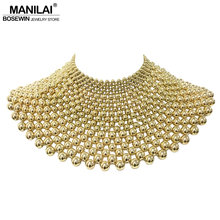 MANILAI Brand Indian Jewelry Handmade Beaded Statement Necklaces For Women Collar Beads Choker Maxi Necklace Wedding Dress(China)