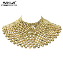 MANILAI collier indien avec perles fait main, ras du cou, Maxi collier de mariage, pour femmes