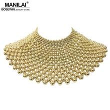 MANILAI marka indyjska biżuteria wykonane ręcznie wyszywane koralikami kreatywne naszyjniki dla kobiet kołnierz koraliki Choker naszyjnik maxi suknia ślubna