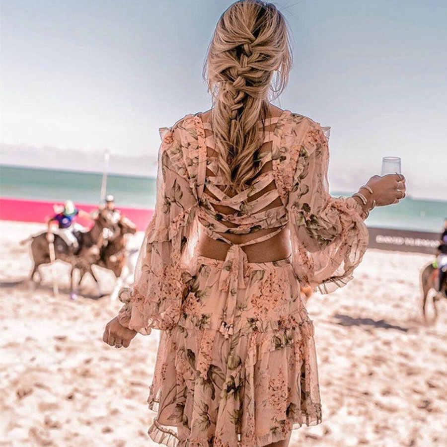 2018 летнее Сексуальное Женское Платье с перекрещивающимися на спине цветами и цветочным принтом для торжества и пляжа, роскошное Брендовое длинное мини-платье с глубоким v-образным вырезом и рукавами
