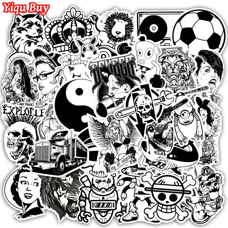 New 50 PCS Black And White Stickers For Laptop Phone Skateboard Luggage Car Styling Doodle Decal Styling PVC Waterproof Sticker