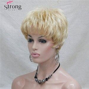 Image 4 - Kısa Altın Sarışın Sentetik Saç peruk Kadınlar Için RENK SEÇENEKLERI