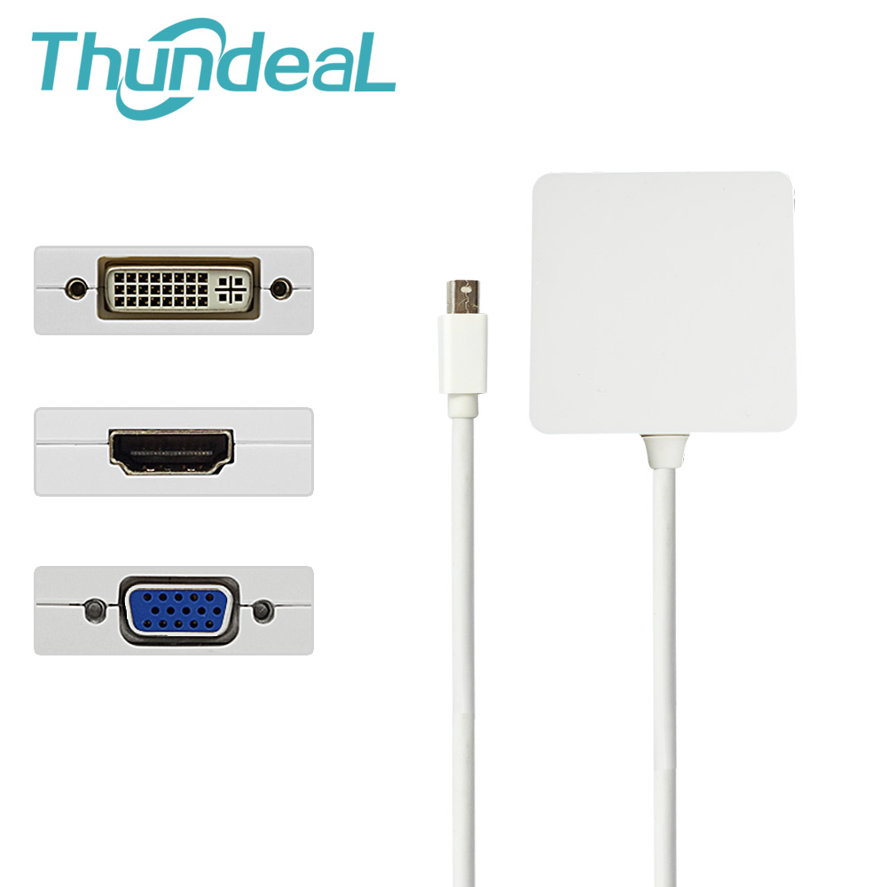 ThundeaL DP 3 in 1 Display Port DP to HDMI DVI VGA Converter Display Port Cable Adapter for Mac Book Pro Air Mini PC TV Adapter 2 in 1 display port cable to hdmi adapter mini dp to 2dp hub cable connector mdd170 mdp to dp 1 2 version for hd video