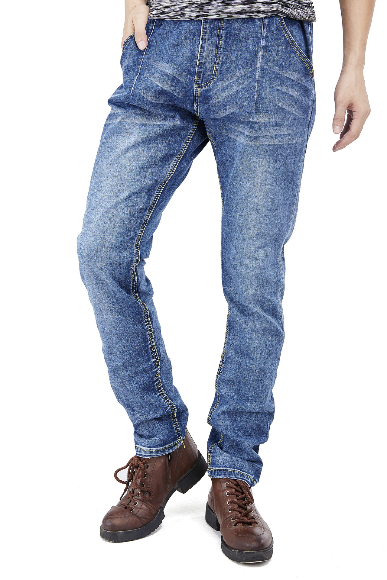 1932 # spring and summer mens light-colored jeans with slim elastic casual loose straight pants big yards