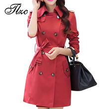 Autumn & Spring Lady Slim Long Trench Plus Size L-4XL Korean Style Adjustable Waist Double Breasted Design Woman Fashion Coats