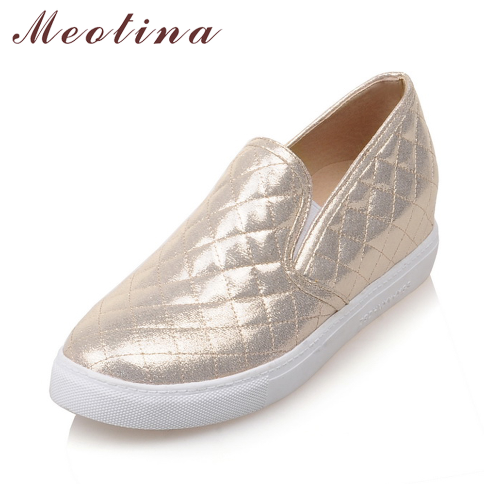 Meotina Shoes Women Round Toe Flats Slip On Flat Shoes Loafers Ladies Shoes Height Increasing Footwear Sliver Gold Large Size 10 beyarne spring summer women moccasins slip on women flats vintage shoes large size womens shoes flat pointed toe ladies shoes
