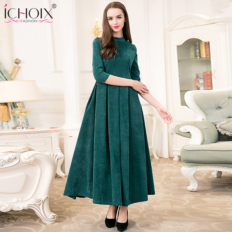 2017 Autumn Winter O Neck Elegant Vintage Maxi Long Dresses Thicken Dress Solid Ankle Length plus size fashion Party dresses