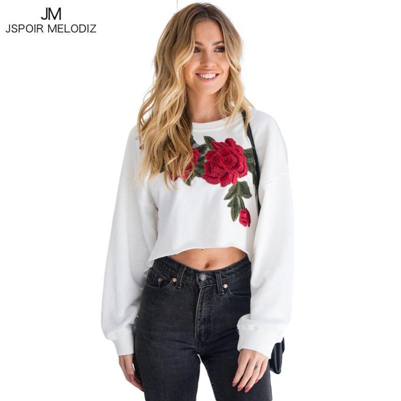 Harajuku Hoodies Women 2018 Autumn Winter Rose Embroidered White Hoodie Tops BTS High Low Fashion Sweatshirt Tracksuit Femme Z30