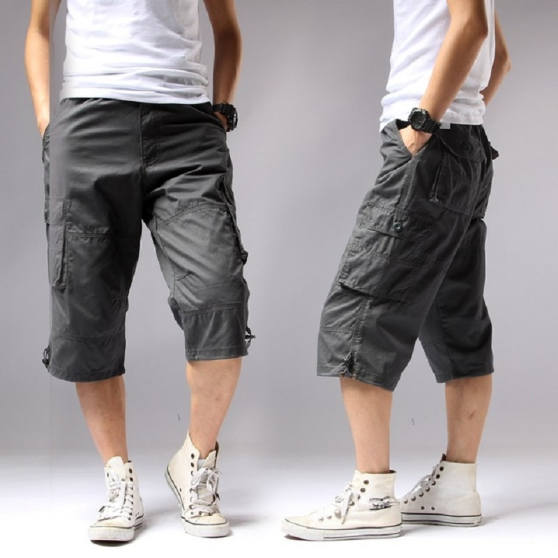 Cargo-Shorts Capri Breeche Knee-Pocket Bermudas Elastic-Waist Military-Style Army Long-Length