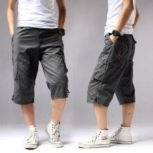Мужские летние длинные шорты карго, повседневные хлопковые бермуды с карманами на коленях и эластичной талией, Капри в стиле милитари