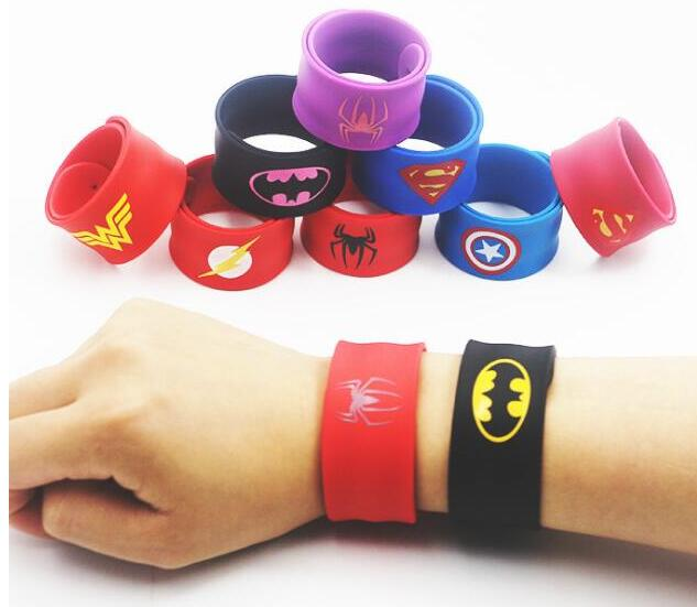 50 pcs Cartoon mix avenger barman Superman Wristband Silicone Promotion Gift Filled In Color Bracelet Creative