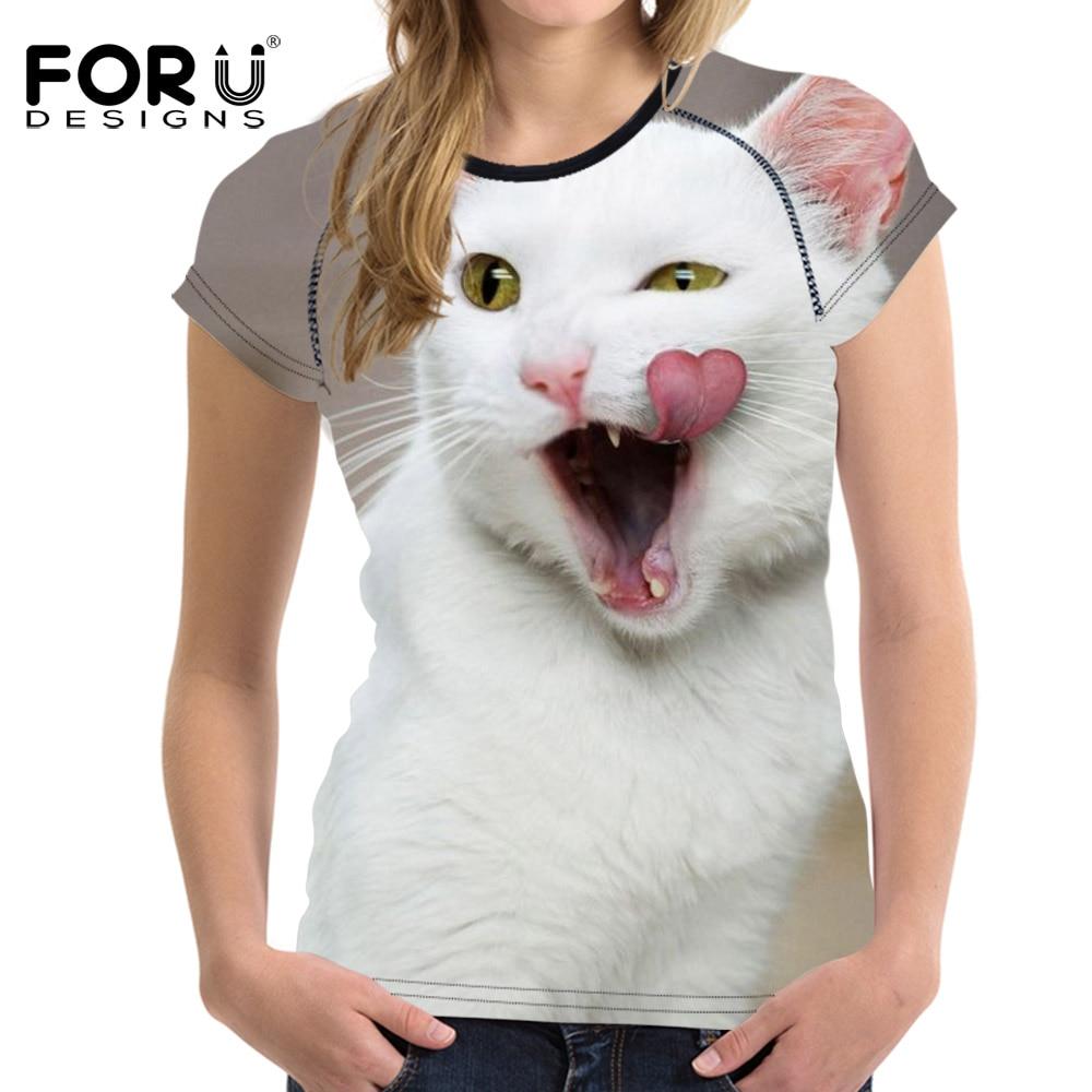 ④Forudesigns 3D divertido gato patrón camiseta para las mujeres ...