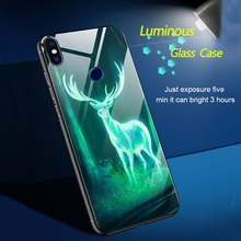 Luminous Glass Case for Xiaomi A 1 2 Lite 8 8E MAX3 Cute Starry Glass Phone Back Cover For Redmi Note 5 4 X 6 Deer Meteor Nebul