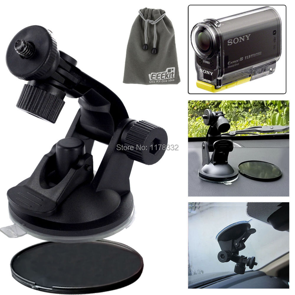 3in1 1set Mini Car <font><b>Mount</b></font> /<font><b>Sunction</b></font> <font><b>Cup</b></font> Pad/ Pouch for Action Cam HDR-AS20/AS30V/AS100V/AS200V/AZ1 Mini/FDR-X1000V