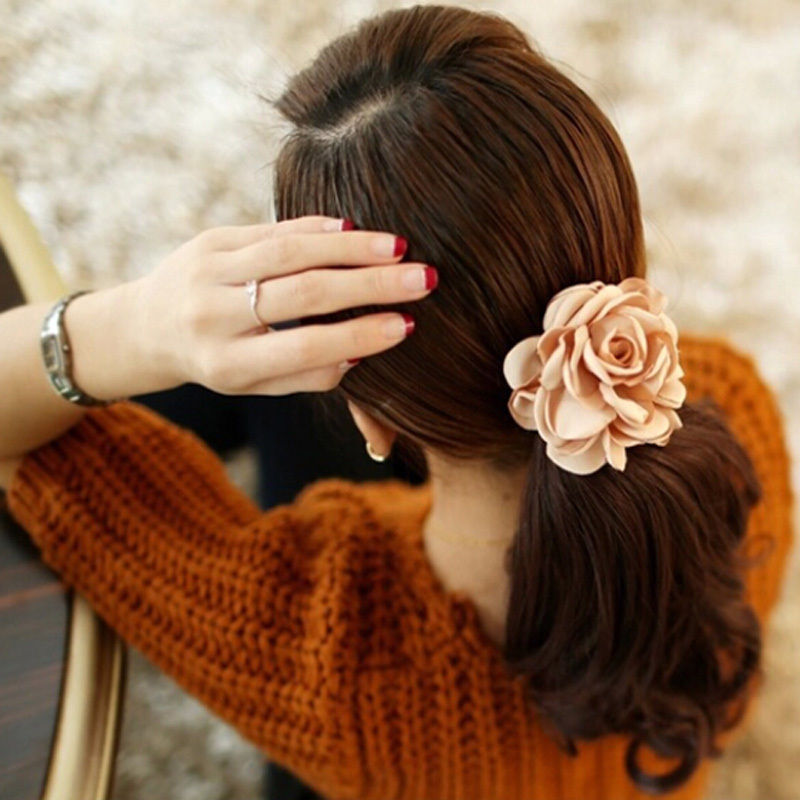 1Pc 2016 New Fashion Elgant Women Hair Band Rope Elastic Rose Flower Ponytail  Holder Scrunchie Party Accessories Hot 1pc new cute women girls colorful sun flower hair band hair clip hair rope 5colors