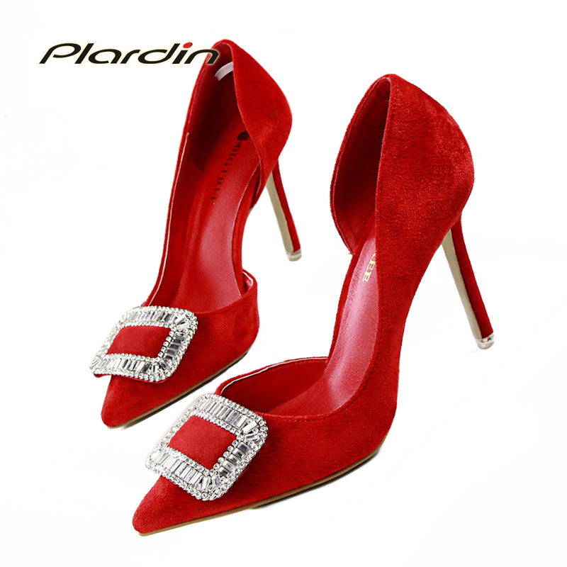 ФОТО 2017 Shoes Woman Sexy Stiletto High Heels  Shallow Mouth Pointed Toe Suede Side Hollow Thin Heel Pumps Female Party Wedding Wear