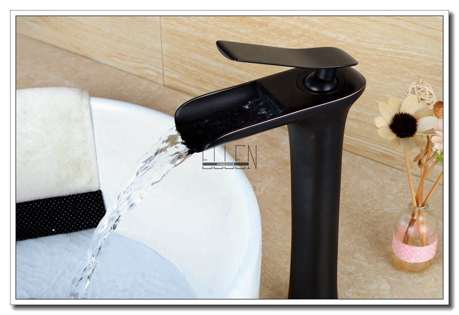 Waterfall Tall Bathroom Faucet Oil Rubbed Bronze Black Hot Cold ...
