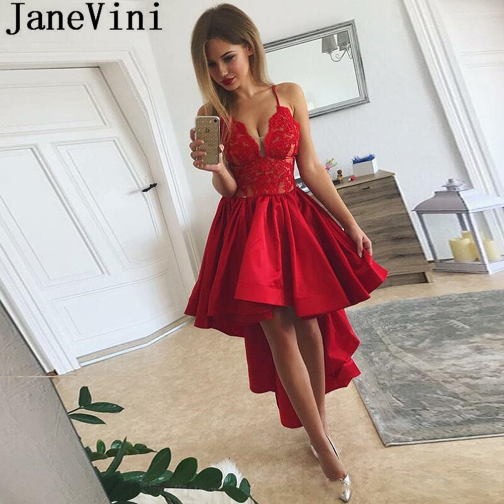 JaneVini 2019 High Low Women   Cocktail     Dresses   Short Front Long Back Cocteleria Red Sexy Lace V Neck Ruffles Satin Prom Gowns