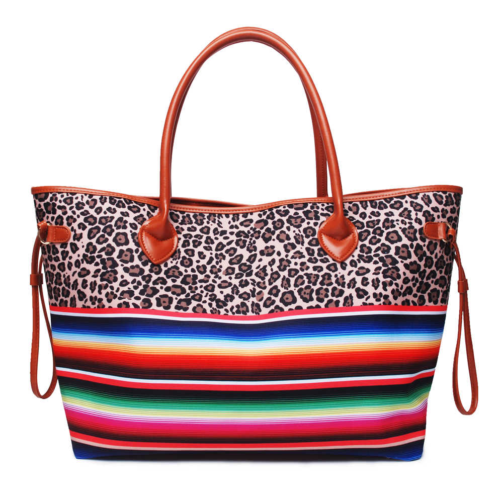 7ee7c45bd7cc Wholesale Domil Endless Colorful Stripes And Leopard Tote Bag Serape And  leopard Handbag Large String Bag