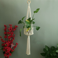 Hand woven Basket Plant Holder Hanging Basket Net Cotton Rope Macrame Wall Hanging Flower Hanging Planter Garden Decoration