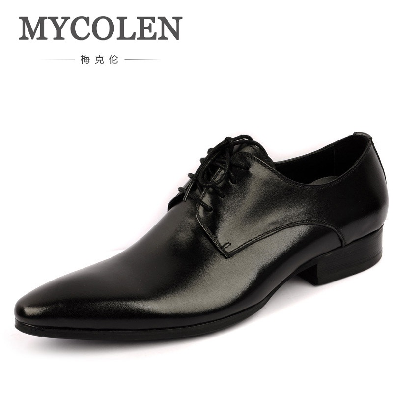 MYCOLEN Patent Leather Genuine Leather Man Shoes Flats Formal Business Shoe Lace Up Handmade Dress Wedding Shoes Derby Hombre new arrival men casual business wedding formal dress genuine leather shoes pointed toe lace up derby shoe gentleman zapatos male