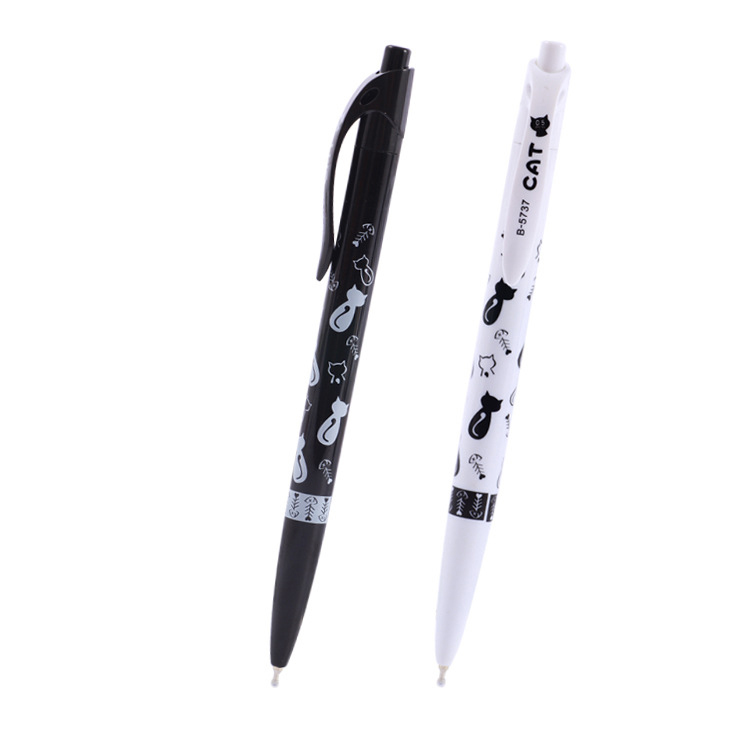 2PCS New Arrival 0.5mm School Office Pen Plastic Lovers Gift Ball Pen Cartoon Cat Ballpoint Pens Student Prize Promotional Pen