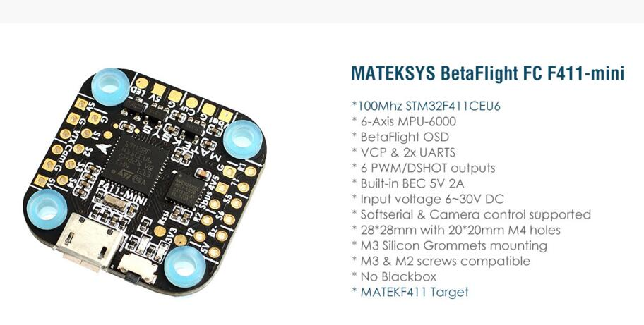 Matek System F411-mini Mini F411 F4 Flight Controller AIO OSD BEC and LED Strip 20*20mm for RC Models Quadcopter Spare Part DIY