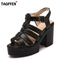 Women Square High Heel Sandals Ankle Strap Sexy Lady Summer Fashion Sweet Brand Heeled Footwear Heel