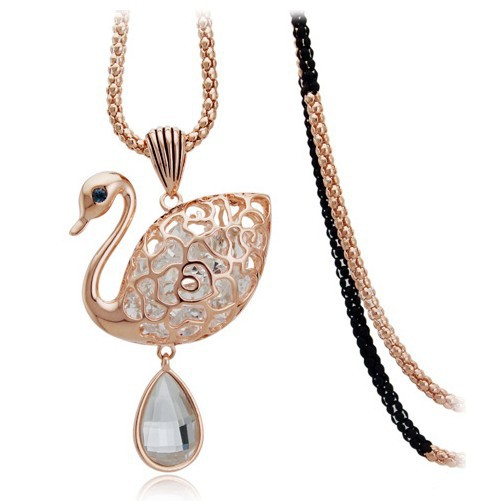 New Brand Design Crystal Drop Lake Swan Long Chain Necklace For Women Sweater Chains Fashion Costume Jewelry