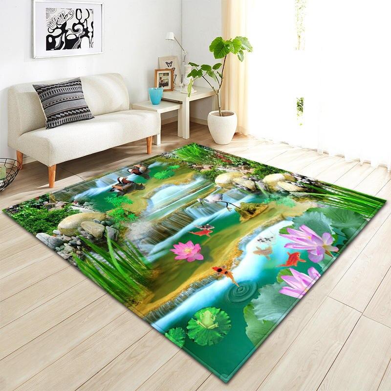 Nordique moderne 3D peinture vert plante impression tapis pour salon canapé zone de chevet tapis enfants jouer tente tapis de sol couverture - 5