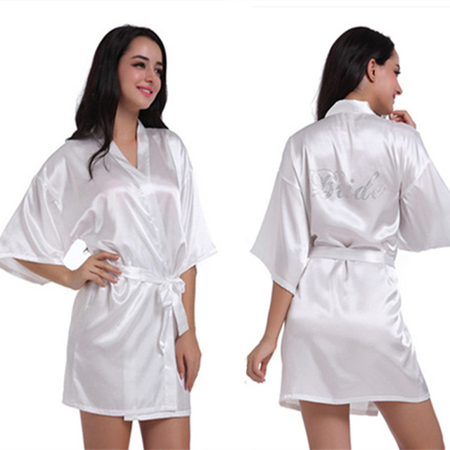 2683de1f15 Women s Bridal White Short Kimono Robe 2017 Satin Silk Bridesmaid  Rhinestone Wedding Robes Sleepwear Dressing Gown