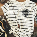 Mulheres Verão Macio E Confortável Vida Mãe Carta Imprimir Crewneck Chic Listrado O Pescoço Tee T-Shirt Top Tarja S/M/L/XL/XXL
