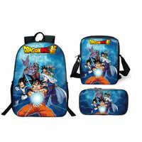 2019 Venta caliente 3 piezas Set mochila Anime Dragon Ball Z Super bolsas escolares para estudiantes mejores regalos niños hijo goku bolsas de la escuela