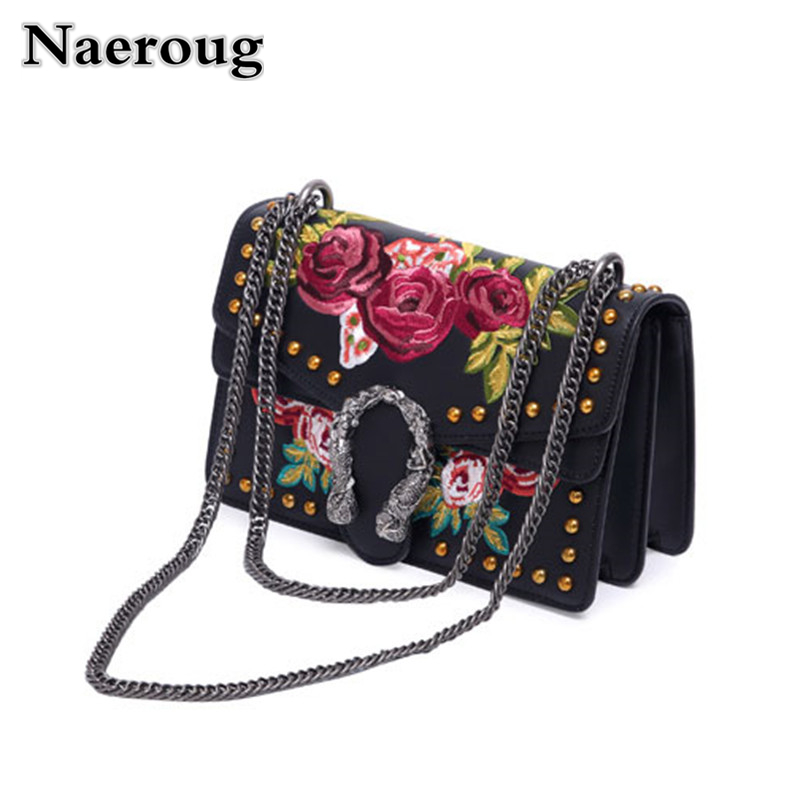 Luxury Fashion Crossbody Bags for Women Split Leather Rivets Embroidered Flowers Chain Shoulder Bag Female Black Purses Handbags matrix биолаж скалпсинк набор ампул против выпадения волос 10х6 мл biolage scalpsync