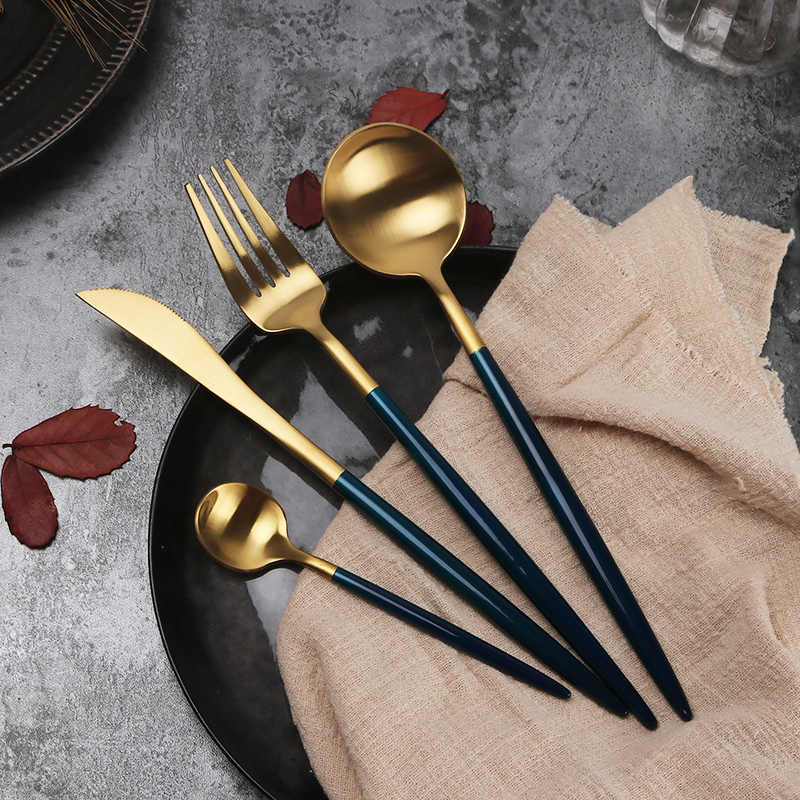 4 pcs high quality gold silver plated Cutlery Set 18/10 Stainless Steel  Tableware Fork Knife Spoon Table DinnerwareDrop Shipping|Spoons| -  AliExpress