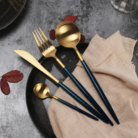 4 pcs high quality gold silver plated Cutlery Set 18/10 Stainless Steel Tableware Fork Knife Spoon Table DinnerwareDrop Shipping