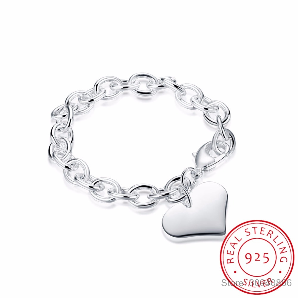 LEKANI Luxury 925 Sterling Silver Heart Charm Bracelet High Quality Men Women Silver Bracelet Pulceras Armband Fine Jewelry