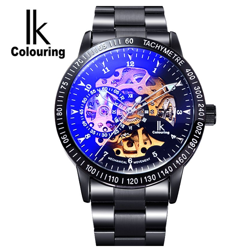 IK Colouring Men's Orologio Uomo Allochroic Glass Skeleton Auto Mechanical Watch Wristwatches Gift Box Free Ship ik colouring men s orologio uomo allochroic glass skeleton auto mechanical watch wristwatches gift box free ship