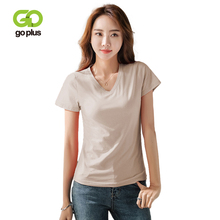 GOPLUS 2019 New Soft Cotton Solid Basic T-shirts Women V-Neck Short Sleeve Shirts Ladies Summer Slim Casual Tee shirt Female Top цена 2017