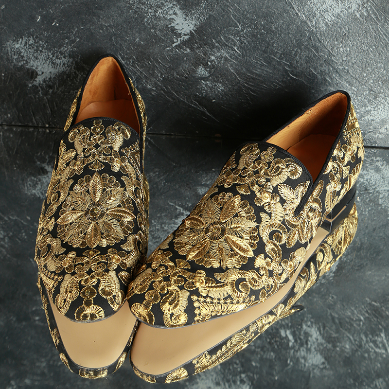 2019 Fashion Embroidery Shoes Men Round Toe Gold Flower Flat Shoes For Man Party Shoes-in Formal Shoes from Shoes    3