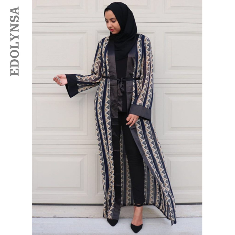 e7a14254556adb Arab Robes Long Sleeve Dress Turkish Middle East Style Muslim Dress Kaftan  Embroidered Front Open Abaya Islamic Clothing D219